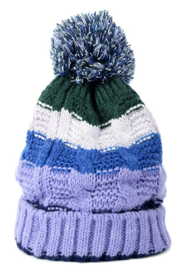 Blue pattern winter ski bobble hat isolated white background stock photography