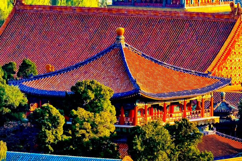 Blue Gold Pavilion Forbidden City Beijing China. Blue Pavilion Green Trees Forbidden City Gugong Beijing China royalty free stock image