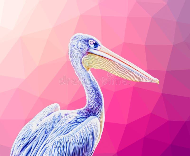Blue Pelican Bird mit rosa Hintergrund - Surreal Art vektor abbildung