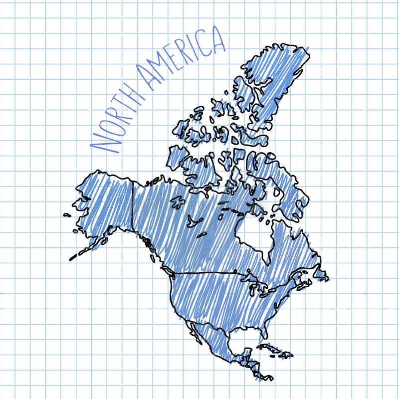 Blue pen hand drawn North America map vector on royalty free illustration