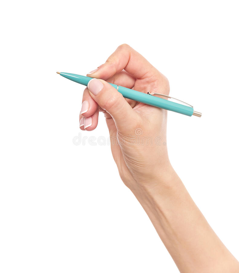 Blue pen in hand. stock photo