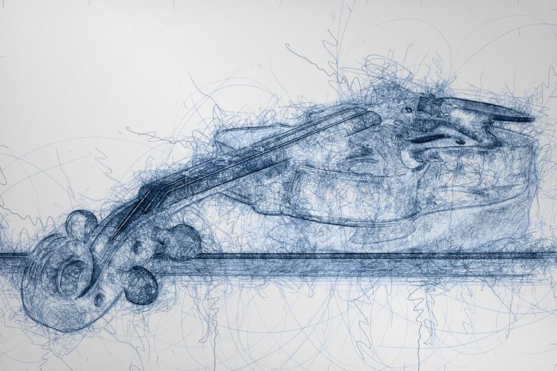 Blue pen sketch of wooden classic violin. Lying on it`s stick stock illustration