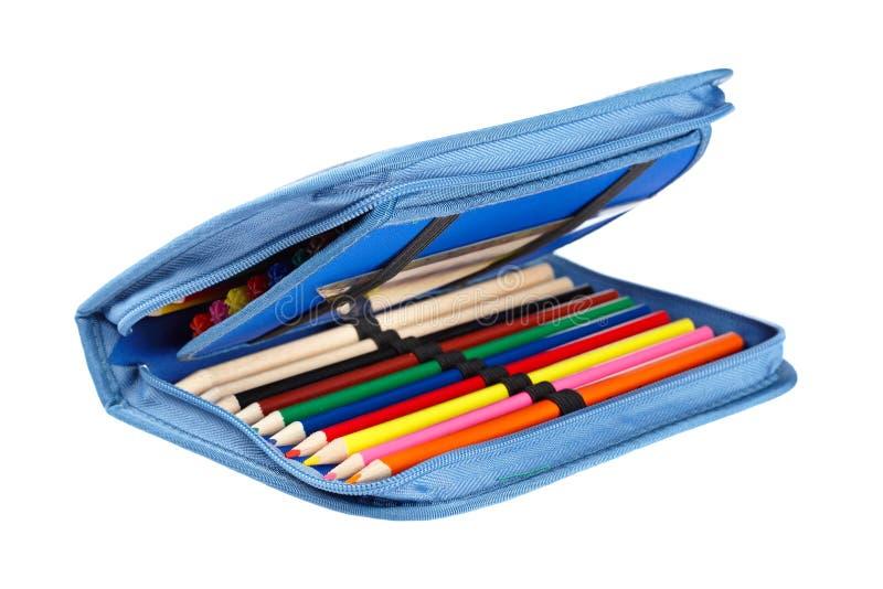 Blue pencil case royalty free stock photos