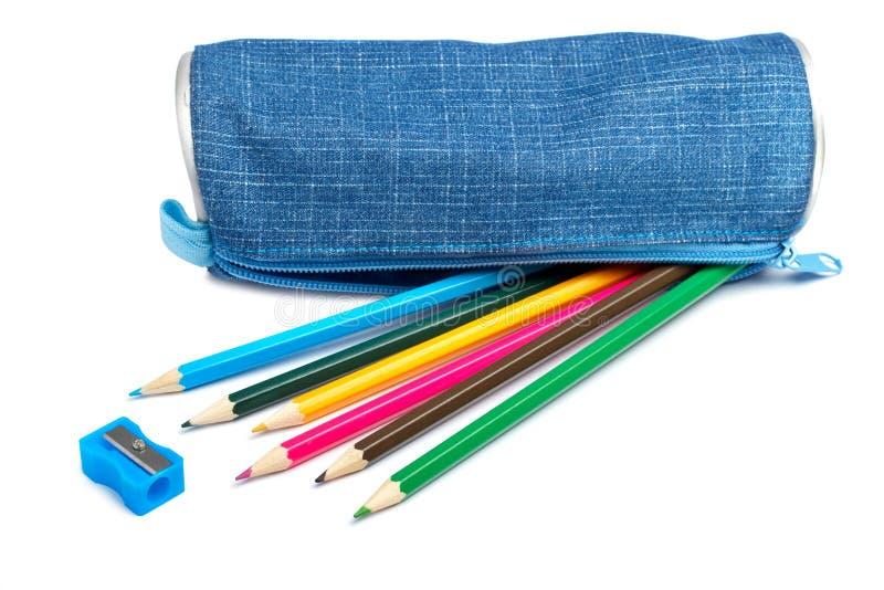 Blue pencil case stock image