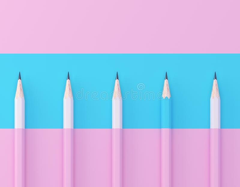 Blue pencil extract out from crowd of plenty identical pink fellows on pink pastel background. minimal creative concept. Leadershi. P, independence, think stock images