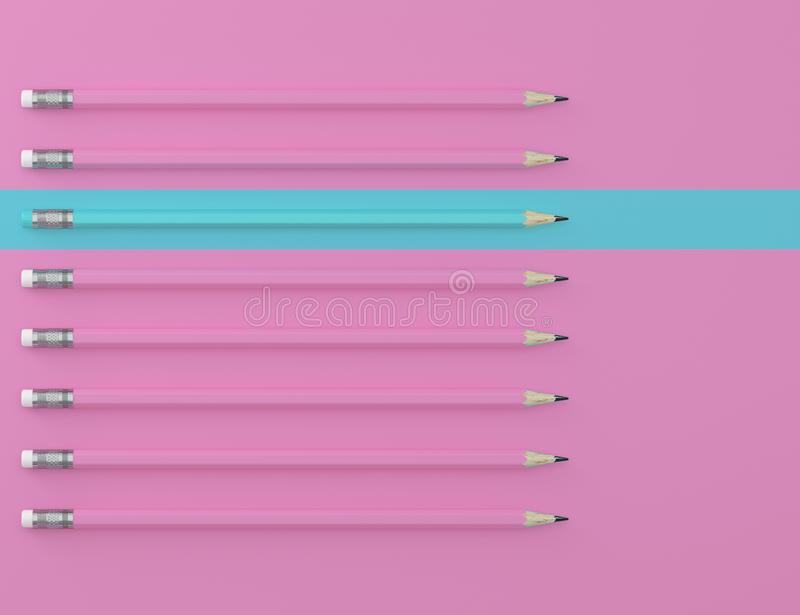 Blue pencil and blue pencil on pink pastel background. minimal creative concept. The idea about the business leadership, think dif. Ferent royalty free stock photos