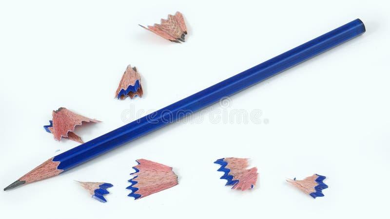 Blue Pencil pointue a isolé sur le fond blanc photo stock