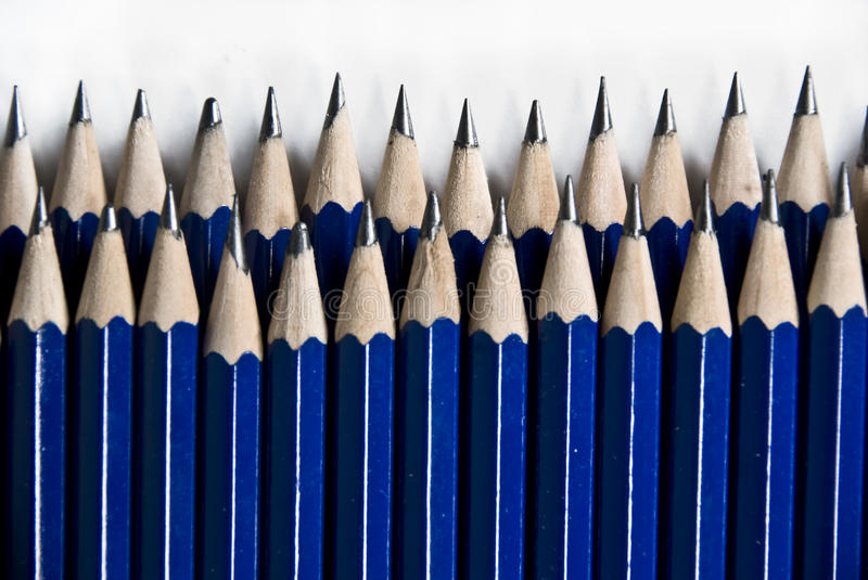 Blue Pencils In Row stock image
