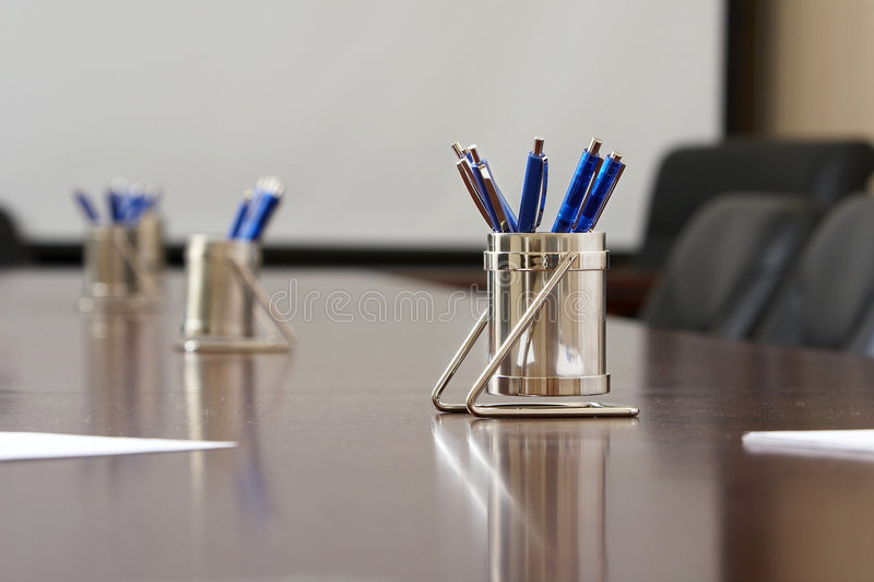 Blue pens royalty free stock photos