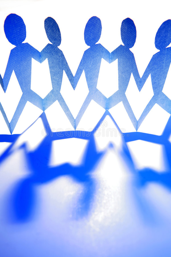 Blue people figures on white royalty free stock photo