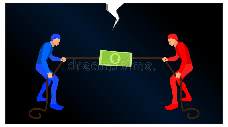 Blue people and red people scrambling to pull a rope to get a symbol of money. illustration of competition in finance. vector full vector illustration