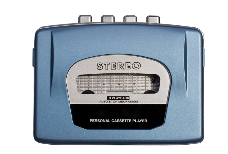 Blue Personal Cassete Player stock images