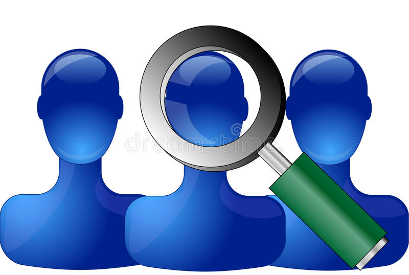 Blue persons with magnifying glass royalty free illustration
