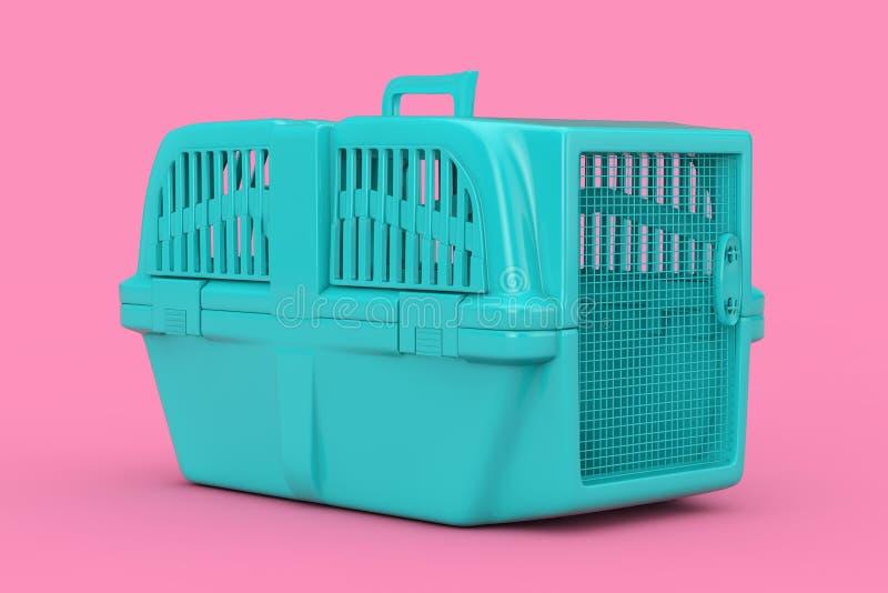 Blue Pet Travel Plastic Cage Carrier Box Mock Up Duotone. 3d Rendering. Blue Pet Travel Plastic Cage Carrier Box Mock Up Duotone on a pink background. 3d vector illustration