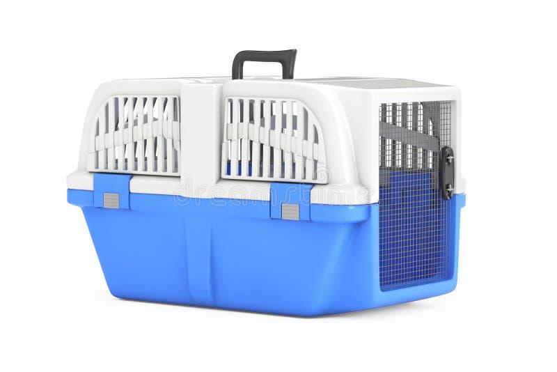 Blue Pet Travel Plastic Cage Carrier Box. 3d Rendering. Blue Pet Travel Plastic Cage Carrier Box on a white background. 3d Rendering vector illustration