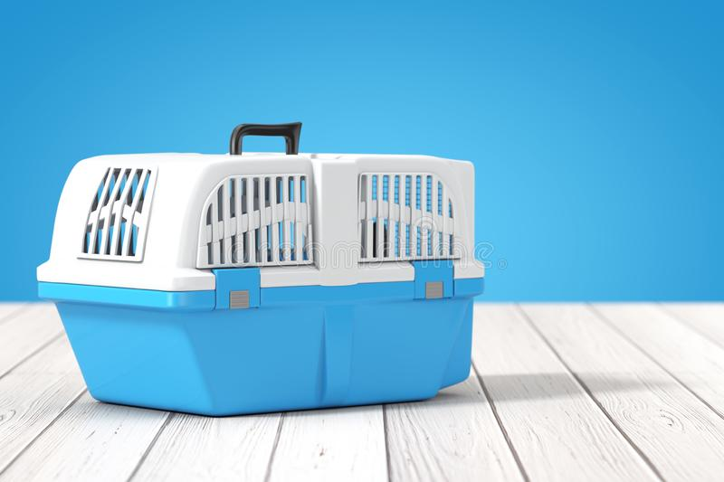 Blue Pet Travel Plastic Cage Carrier Box on a wooden table. 3d Rendering. Blue Pet Travel Plastic Cage Carrier Box on a wooden table and blue background. 3d stock illustration
