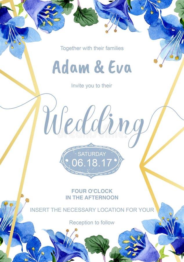 Blue phacelia flower. Wedding background card. Thank you, rsvp, invitation elegant card illustration graphic set banner. Blue phacelia flower. Watercolor royalty free illustration