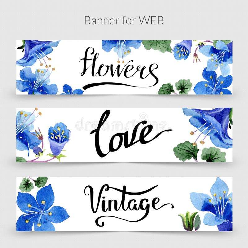 Blue phacelia. Watercolor background card. Floral border. Flowers, love and vintage handwriting monogram calligraphy. royalty free illustration