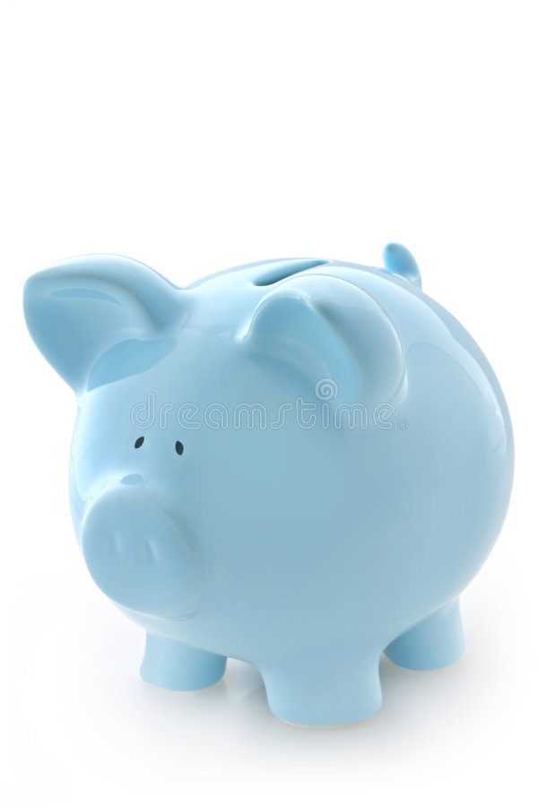 Blue Piggy Bank. Gorgeous blue piggy bank, isolated on white with soft shadow stock photography