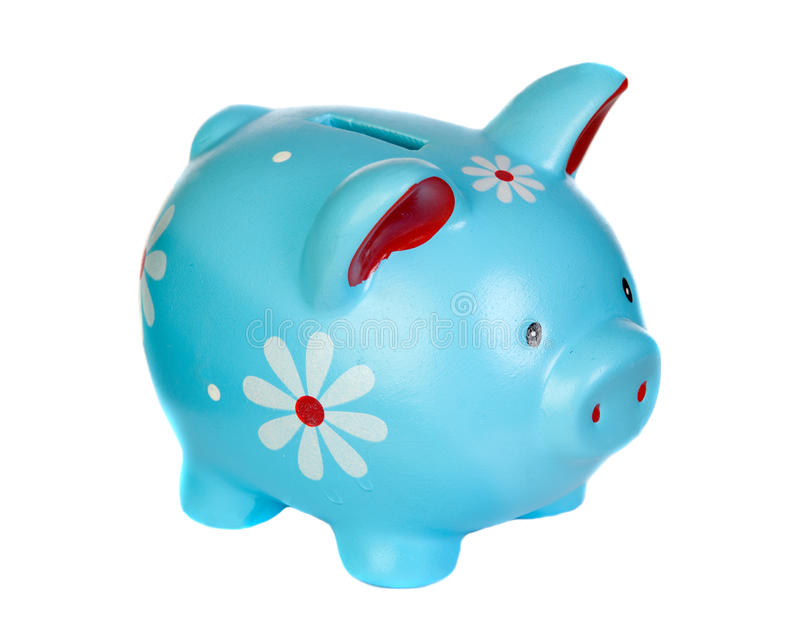 Blue piggy bank with flowers. Isolated on white background royalty free stock images