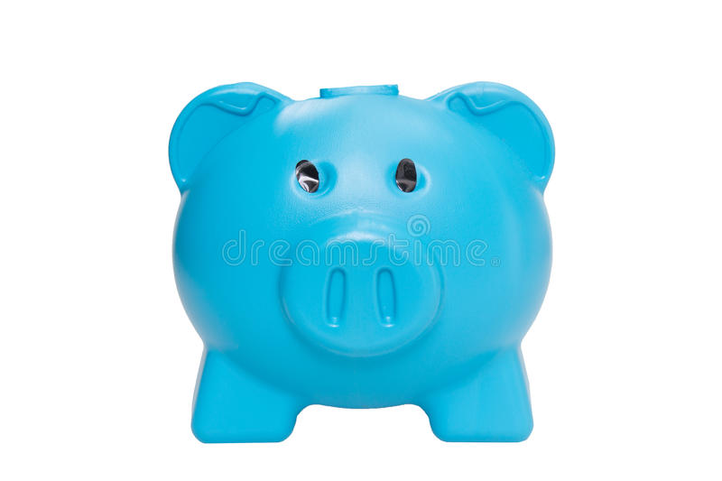 Blue piggy bank isolated on white background.  stock photo