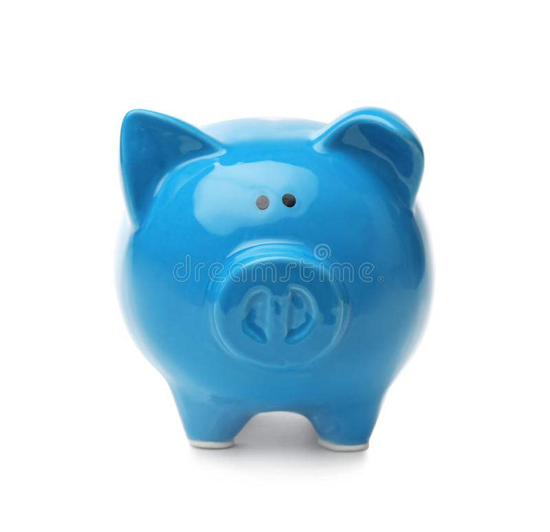 Blue piggy bank on white background. Money saving royalty free stock images