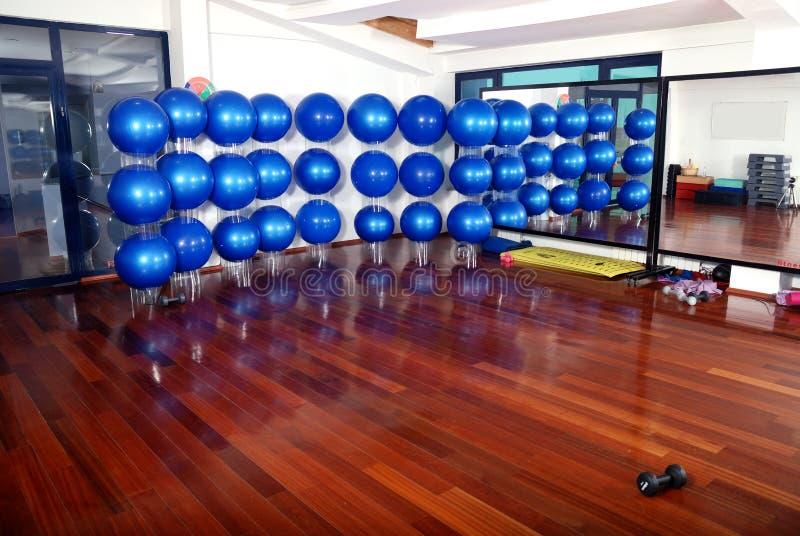 Blue pilates ball background royalty free stock photo