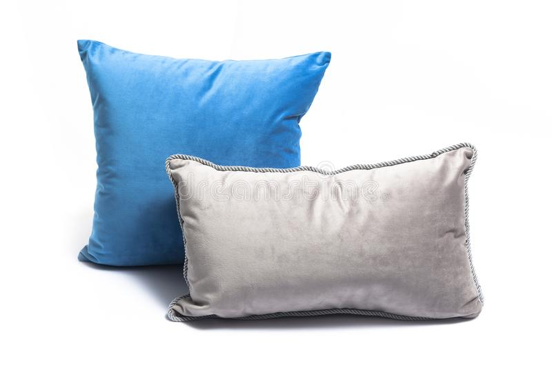 Blue pillows and grey pillows royalty free stock image