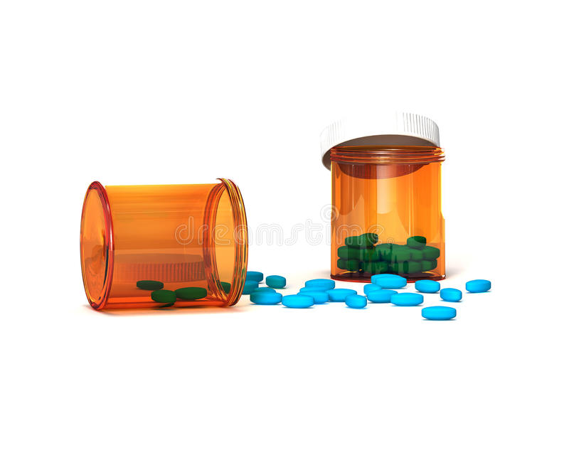 Download Blue Pills Poured Out Of A Package Stock Illustration - Image: 22033545