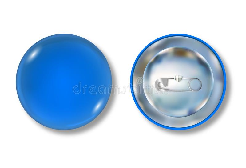 Blue pin button front and back side. Blank badge brooch mockup design. Vector illustration royalty free illustration