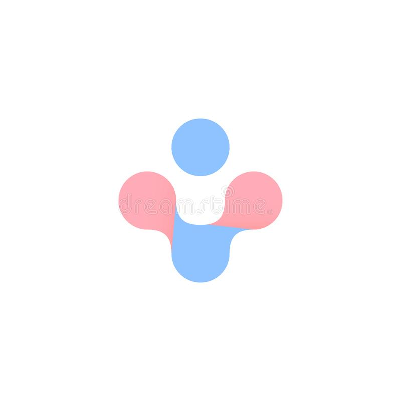 Blue and pink abstract cross. Woman and man health vector symbol. Pregnancy, childbirth logo. Isolated plus icon on. White background vector illustration