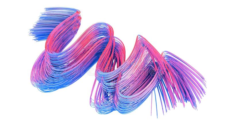 Blue and pink abstract lines on white background. 3D rendering. vector illustration
