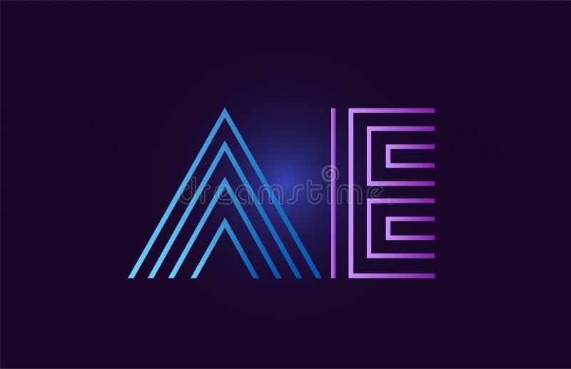 Blue pink ae a e gradient alphabet letter combination logo icon design. Ae a e line blue pink design of alphabet letter combination with gradient color suitable vector illustration