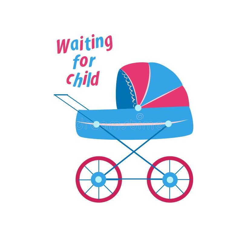 Blue pink baby stroller. greeting card for newborns. vector illustration. On white background vector illustration