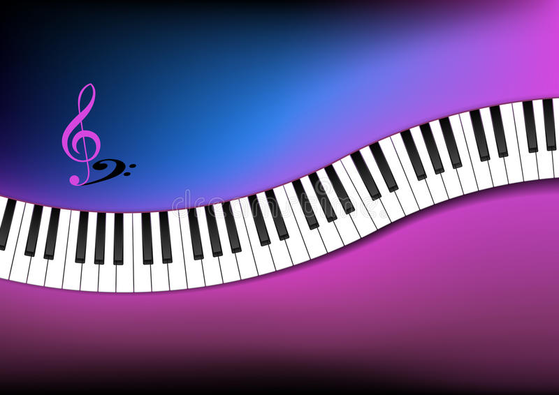 Download Blue And Pink Background Curved Piano Keyboard Stock Illustration - Illustration: 27859484