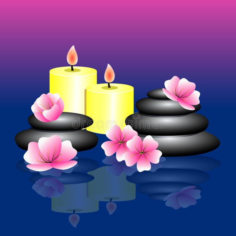 Blue pink background with Spa elements. Spa stones, pink white f stock illustration