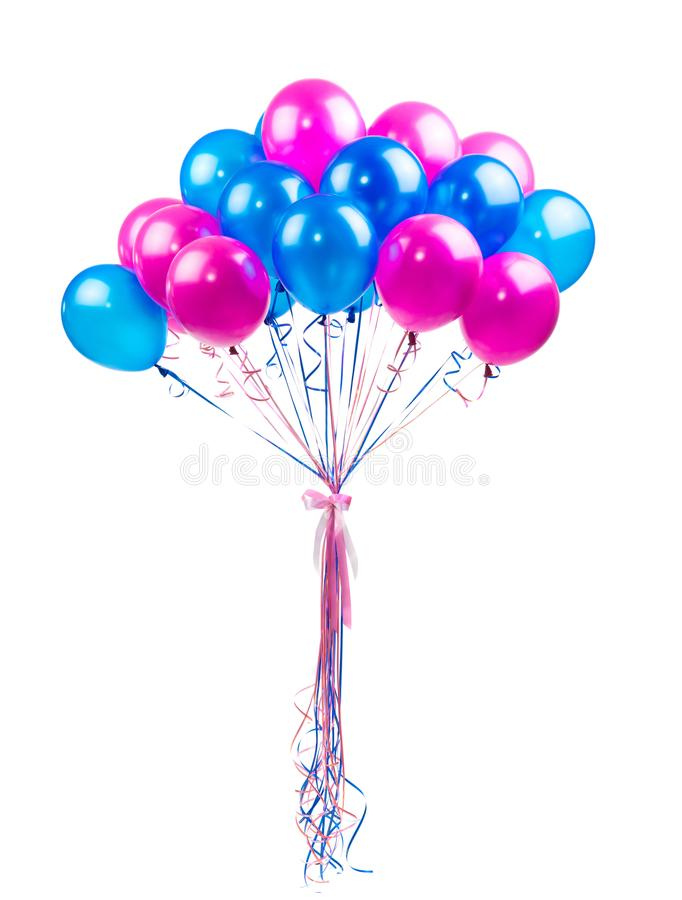 Blue and pink balloons stock images