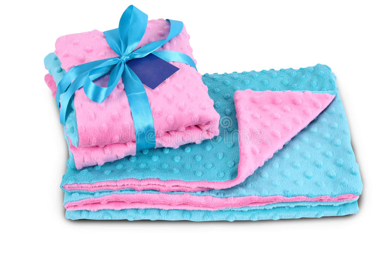 Blue and pink bedding. Isolated on white background royalty free stock images