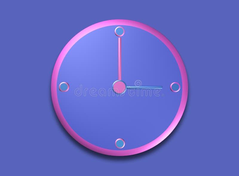 Blue and pink clock 3 o`clock royalty free illustration