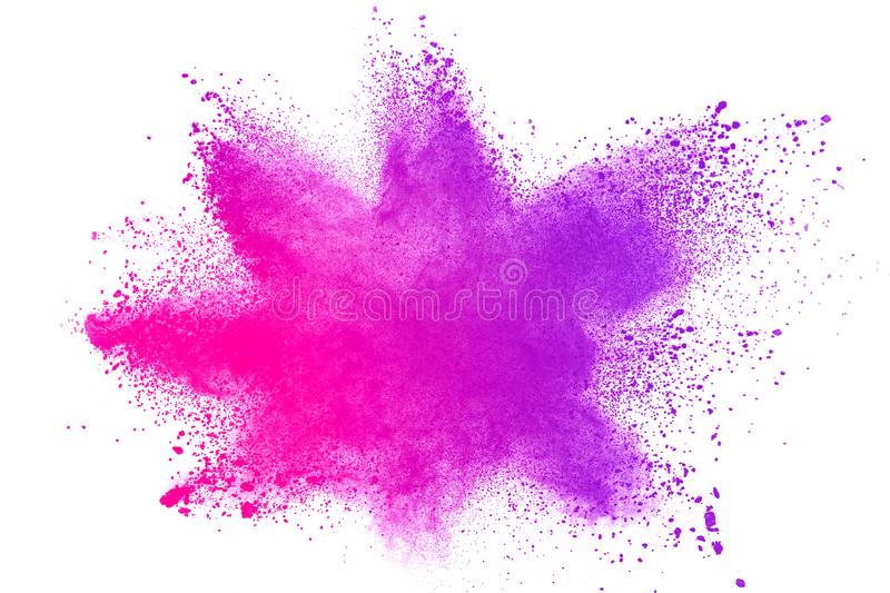 Blue pink color powder explosion cloud isolated on white background. royalty free stock photo