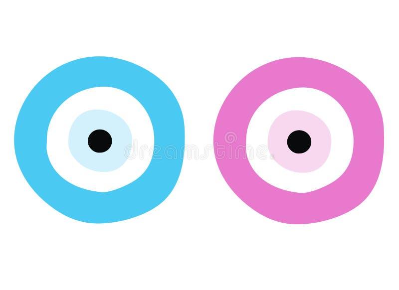 Blue and pink evil eye - symbol of protection vector illustration