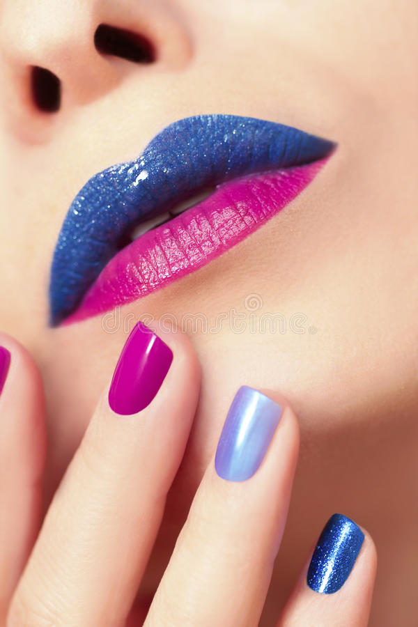 Blue Pink Fashion Nails And Lips. Stock Photo - Image of closeup ...
