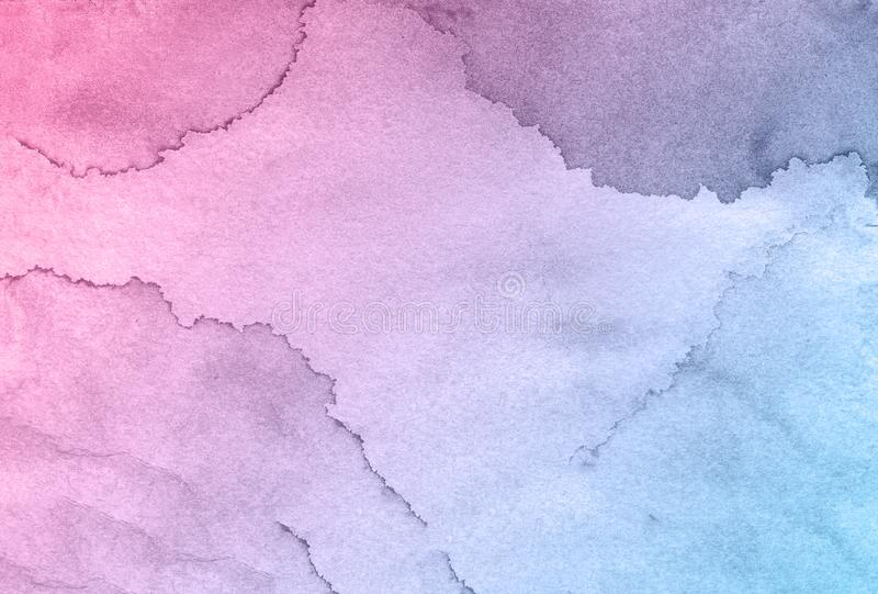 Blue and pink flower creative watercolor paint background, lettering scrapbook sketch. stock photo