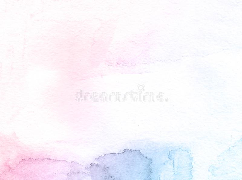 Blue and pink flower creative watercolor paint background, lettering scrapbook sketch. stock photos