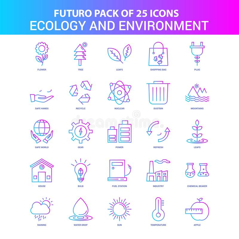 25 Blue and Pink Futuro Ecology and Enviroment Icon Pack. This Vector EPS 10 illustration is best for print media, web design, application design user vector illustration