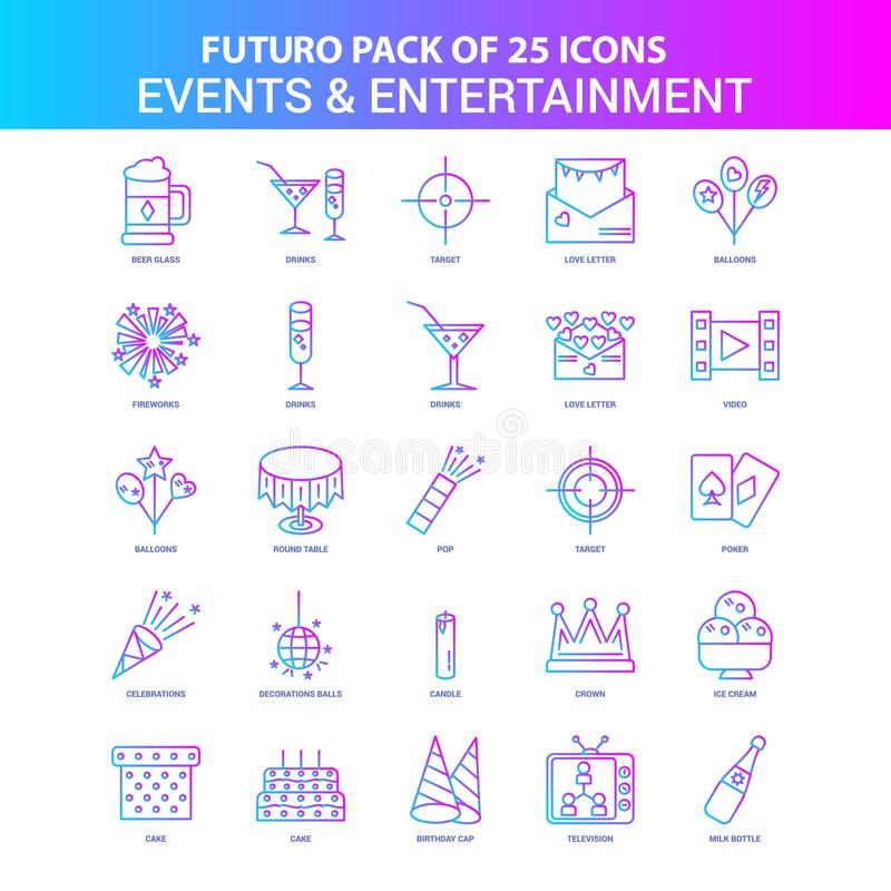 25 Blue and Pink Futuro Events and Entertainment Icon Pack. This Vector EPS 10 illustration is best for print media, web design, application design user royalty free illustration