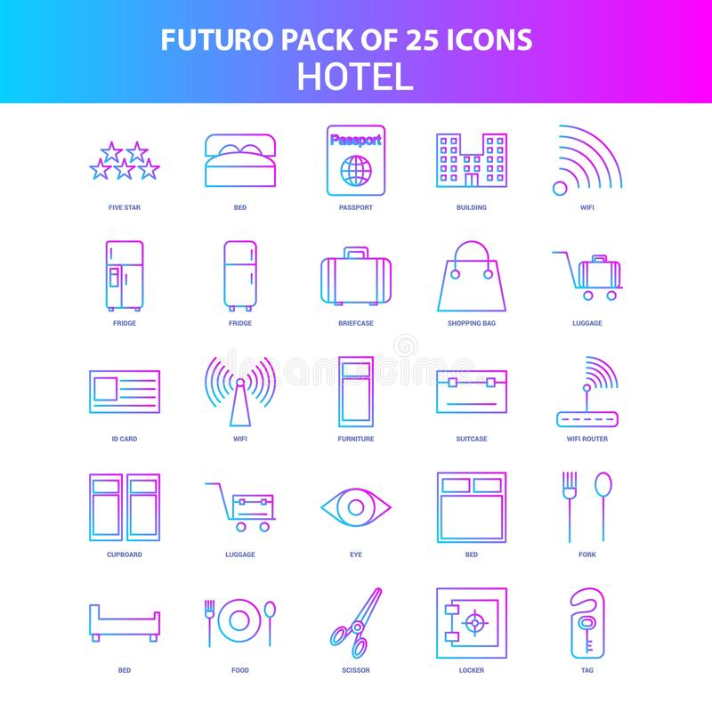 25 Blue and Pink Futuro Hotel Icon Pack stock illustration