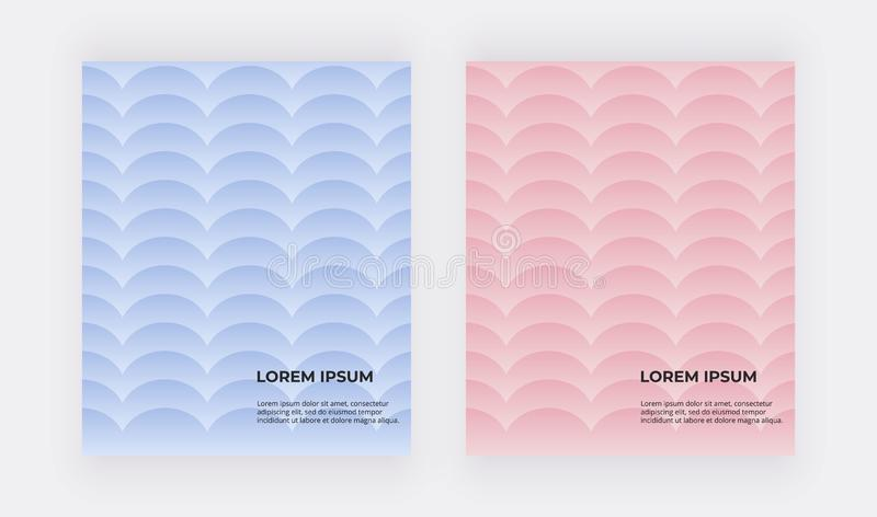Blue and pink geometric backgrounds. Covers with mermaid scales. royalty free illustration