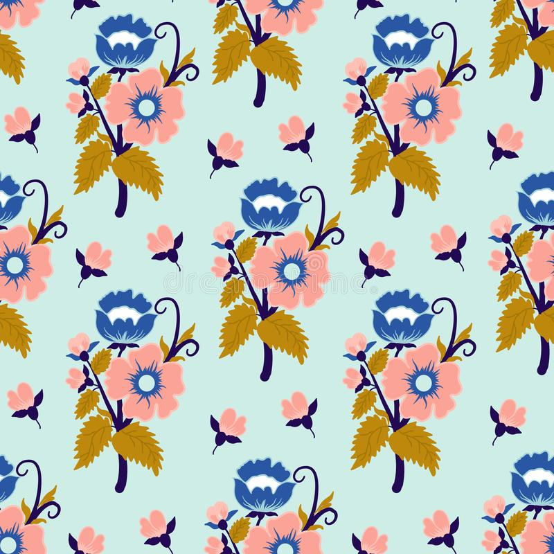 Blue, pink and gold vintage flowers, in a seamless pattern design vector illustration