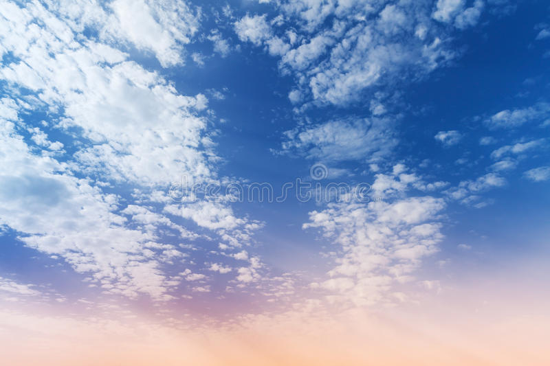Blue and pink gradient of cloudy sky background. Blue and pink gradient of cloudy sky, natural photo background stock image